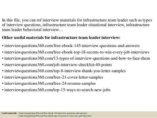 top 10 infrastructure team leader interview questions and answers