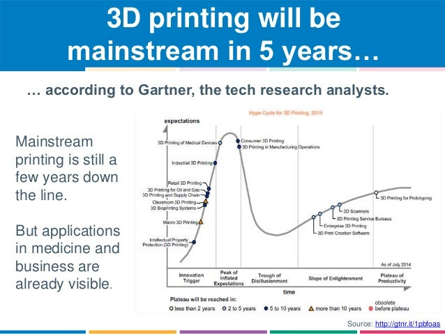 3D printing will be  mainstream in 5 years…  … according to Gartner, the tech research analysts.  Mainstream  printing is ...
