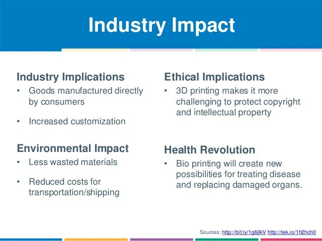 Industry Impact  Sources: http://bit.ly/1g6jIkV http://tek.io/1h2hch0  Industry Implications  • Goods manufactured directl...