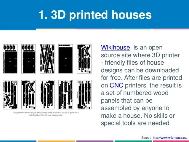 1. 3D printed houses  Wikihouse, is an open  source site where 3D printer  - friendly files of house  designs can be downl...