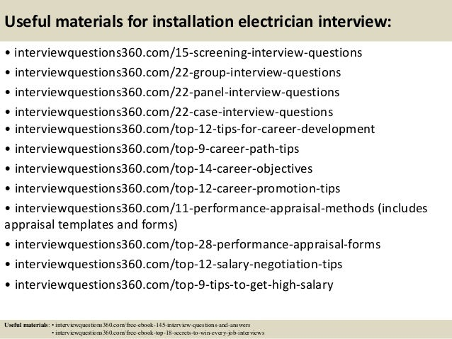 Elegant ... 16. Useful Materials For Installation Electrician Interview: ...