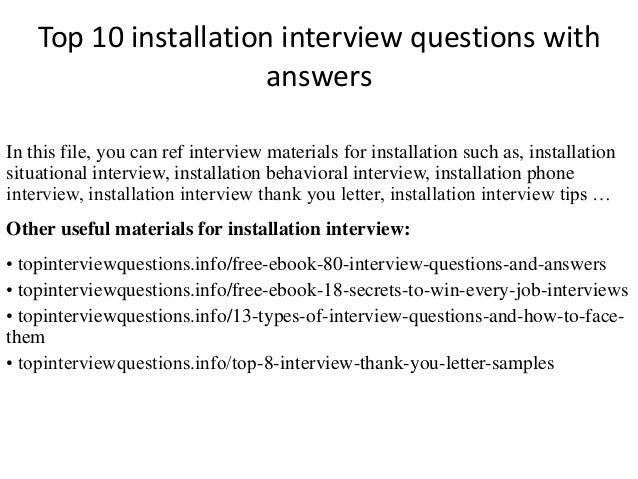 Top 10 installation interview questions with answers top 10 installation interview questions with answers in this file you can ref interview materials fandeluxe Images