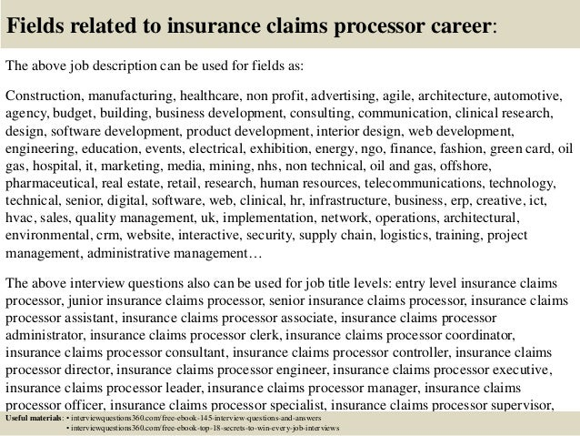 Insurance Claims Job Description. Top 10 Insurance Claims Processor ...