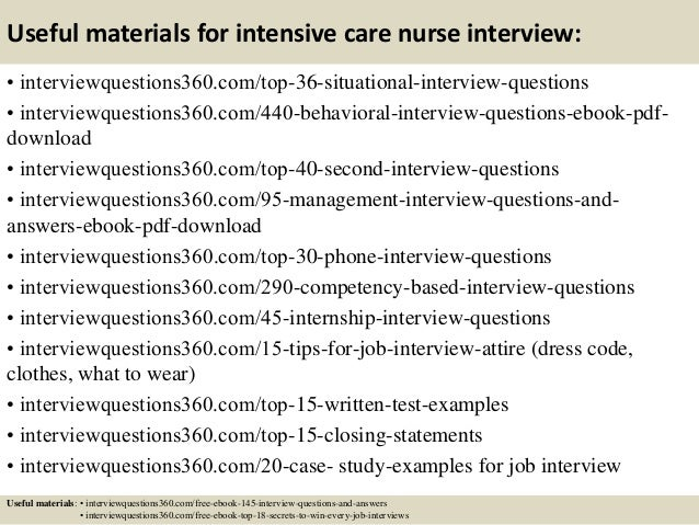 13 useful materials for intensive care nurse interview - Nursing Interview Questions And Answers