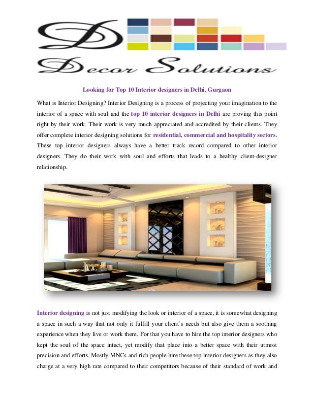 Top 10 Interior Designers Delhi