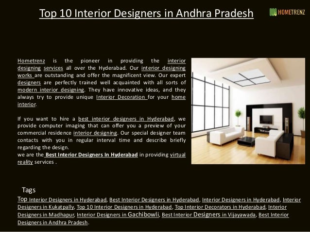 Top 10 Interior Designers In Andhra Pradesh