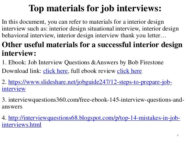 Interior Design Interview 4 Top Materials For Job