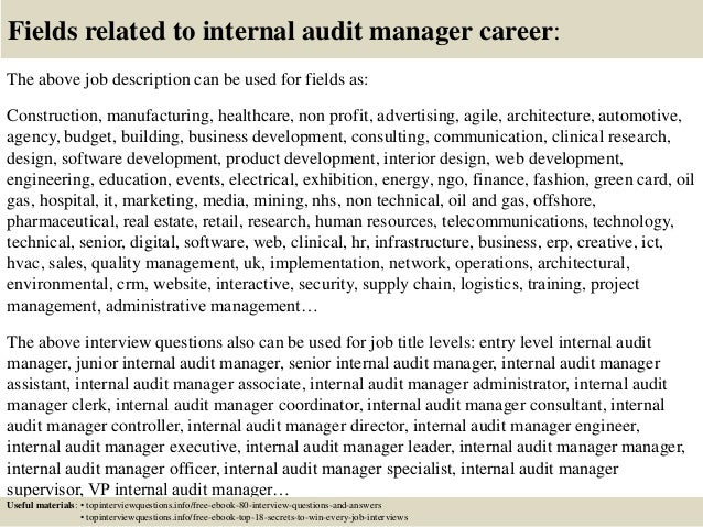 top  internal audit manager interview questions  answers