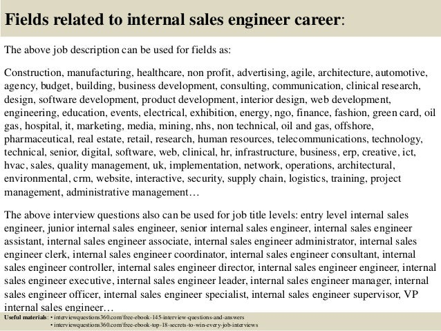 Top 10 internal sales engineer interview questions and answers – Sales Engineer Job Description