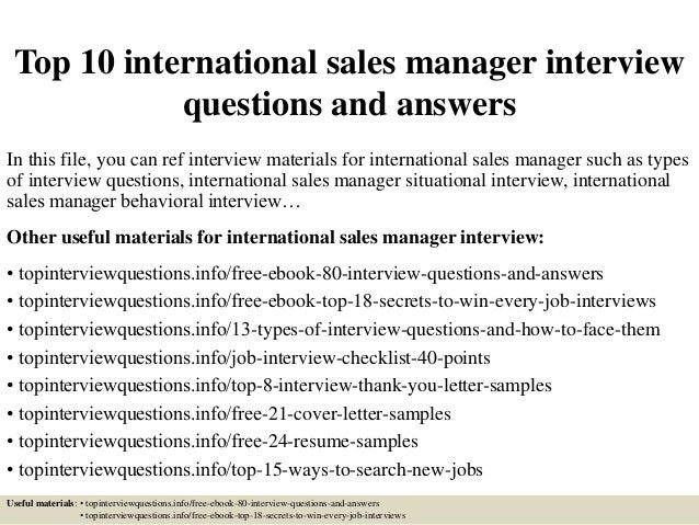 sales management interview questions