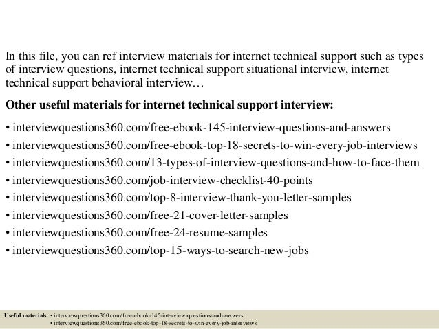 Top 10 internet technical support interview questions and answers
