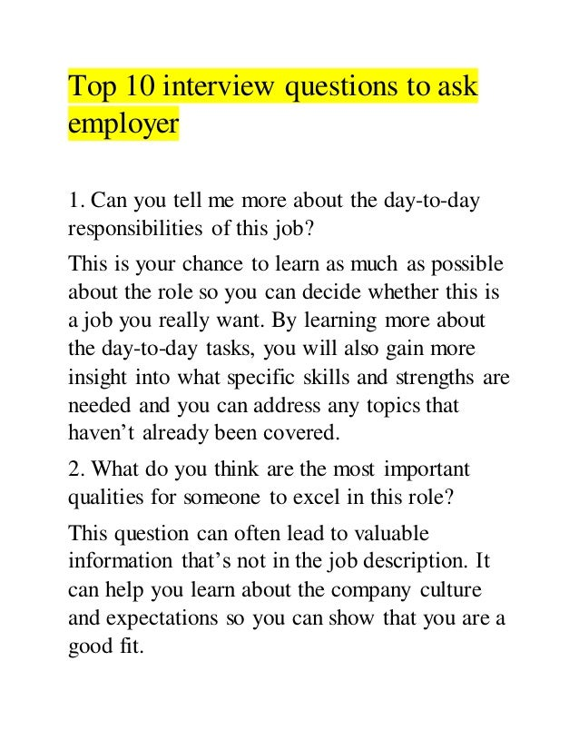 top 10 interview questions to ask employer