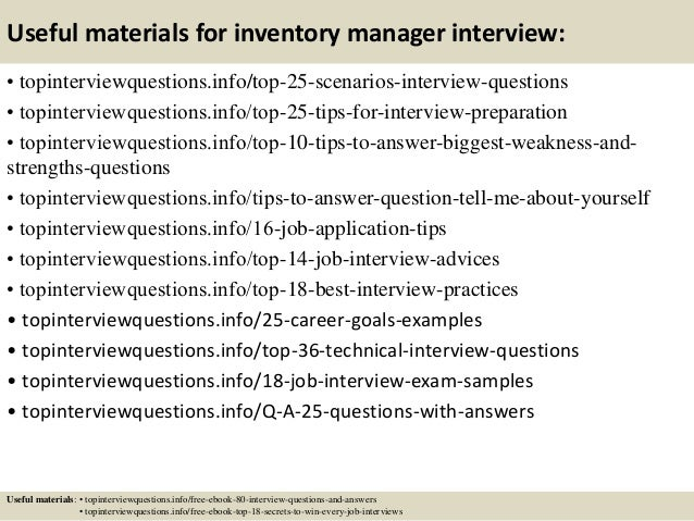 13 useful materials for inventory manager - Inventory Manager Job Description
