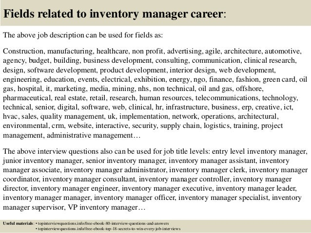 Top 10 inventory manager interview questions and answers