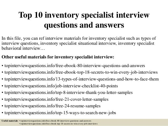 top 10 inventory specialist interview questions and answers