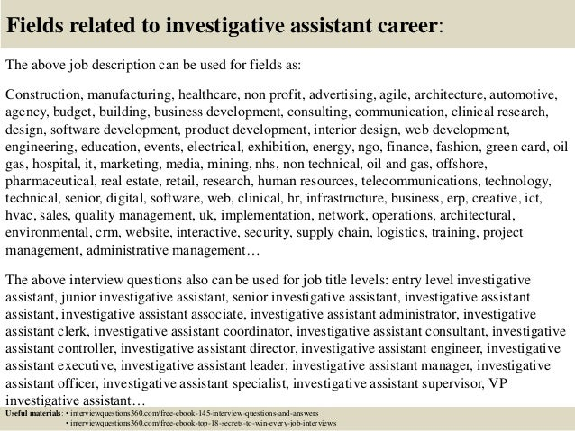 18 fields related to investigative assistant - Investigative Assistant Sample Resume