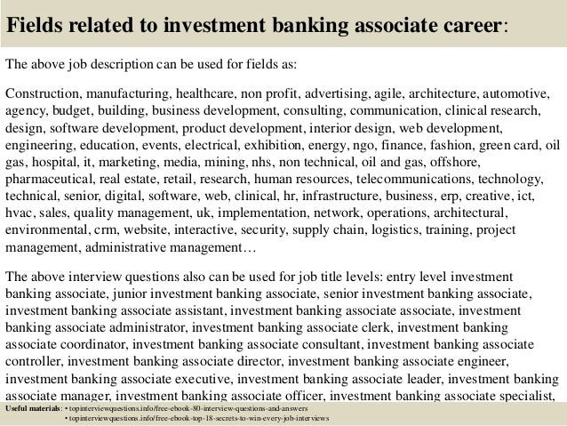Top 10 investment banking associate interview questions and answers – Investment Banker Job Description
