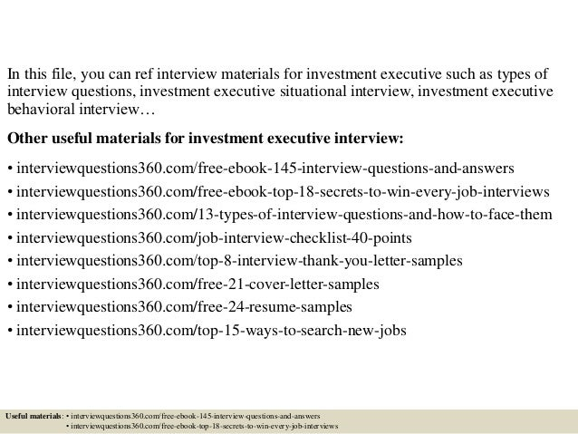 Top 10 investment executive interview questions and answers