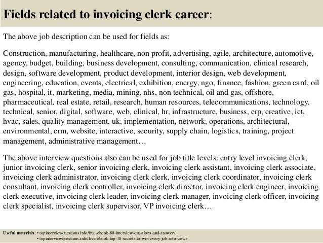 Top Invoicing Clerk Interview Questions And Answers - Invoice job description