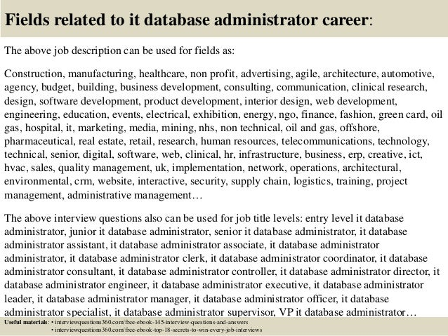 Top 10 It Database Administrator Interview Questions And Answers
