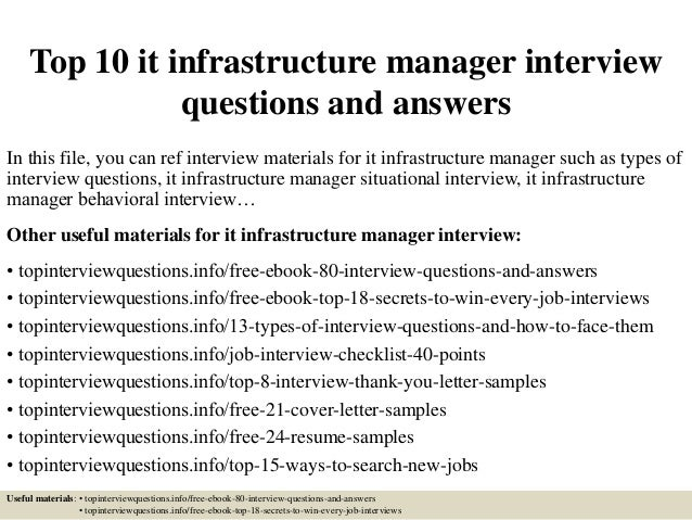 Delightful Top 10 It Infrastructure Manager Interview Questions And Answers In This  File, ...