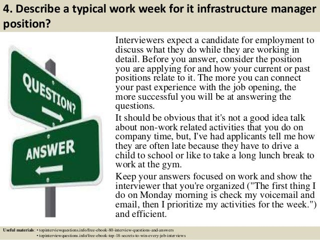 ... 5. 4. Describe A Typical Work Week For It Infrastructure Manager  Position?