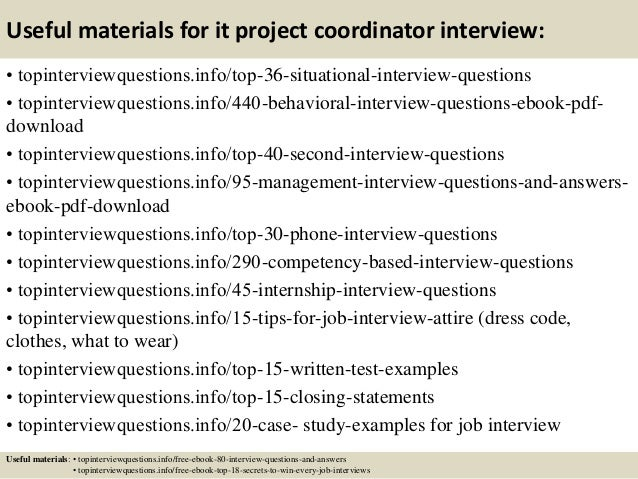 Top 10 it project coordinator interview questions and answers