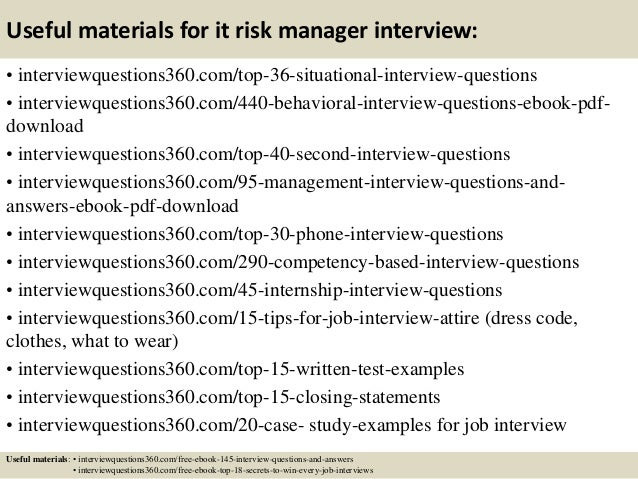Good Risk Management Interview Questions