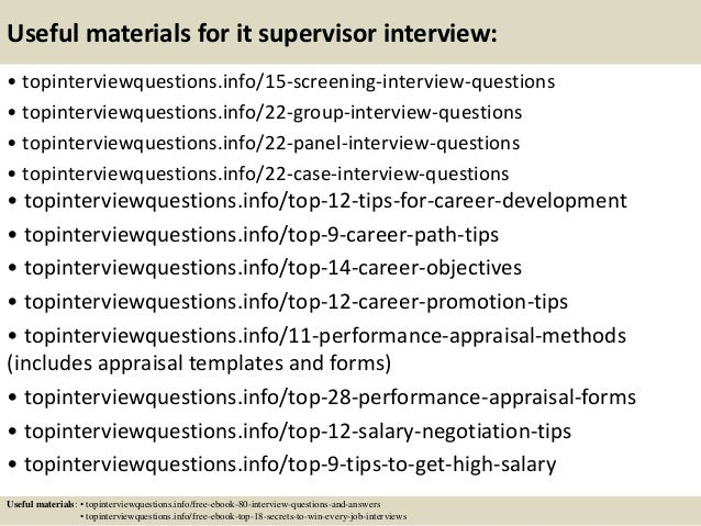 Top 10 it supervisor interview questions and answers