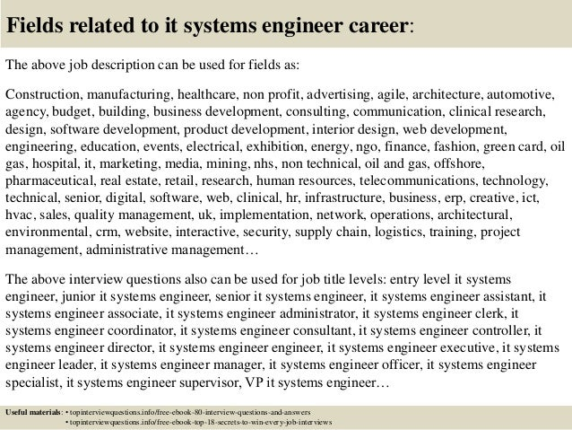 Top 10 it systems engineer interview questions and answers – Systems Engineer Job Description
