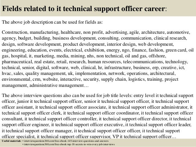 Top 10 it technical support officer interview questions and answers