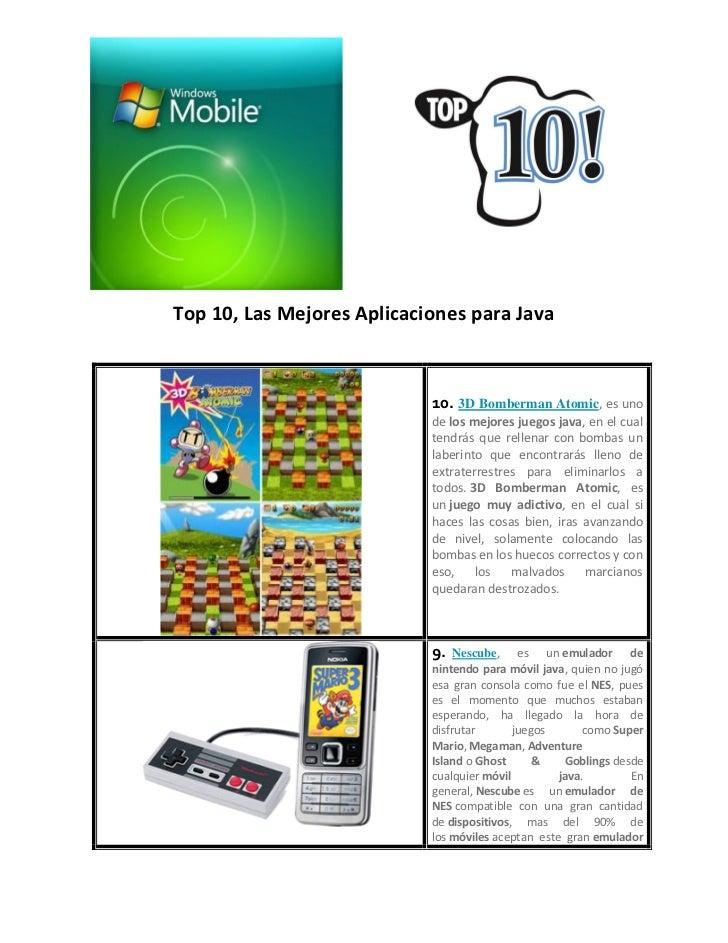 Top 10, Las Mejores Aplicaciones para Java                            10. 3D Bomberman Atomic, es uno                     ...