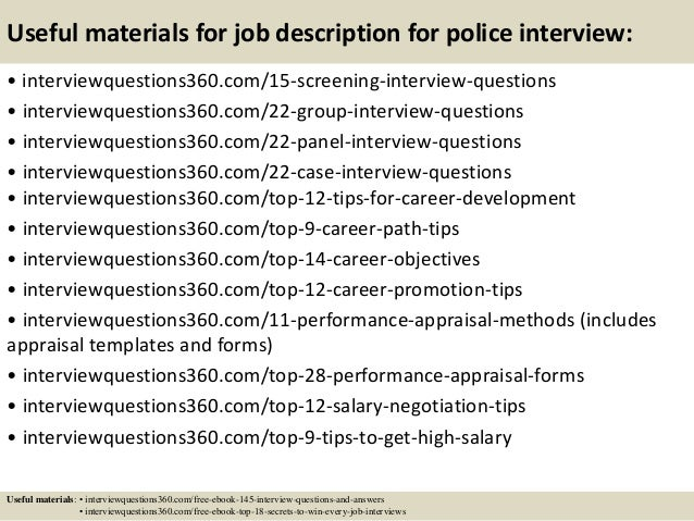 Top  Job Description For Police Interview Questions And Answers