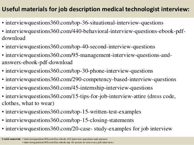 Lovely ... 13. Useful Materials For Job Description Medical Technologist ...