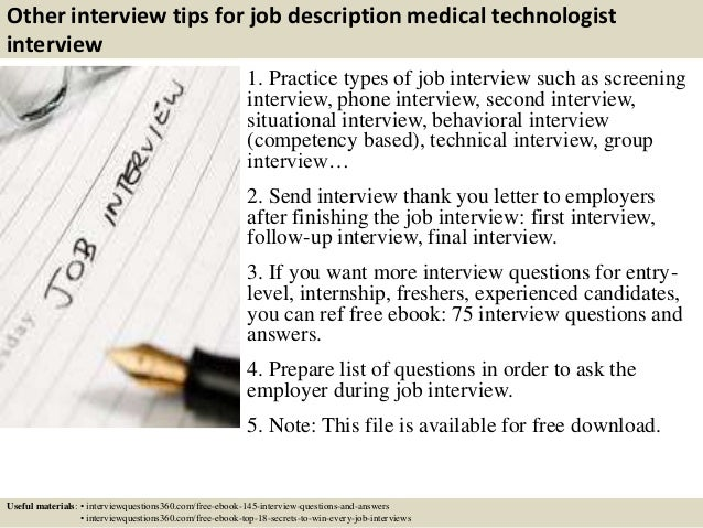 ... 17. Other Interview Tips For Job Description Medical Technologist ...