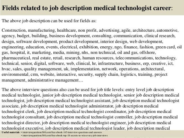 Exceptional ... 18. Fields Related To Job Description Medical Technologist ...
