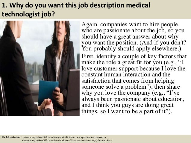 ... 3. 1. Why Do You Want This Job Description Medical Technologist ...
