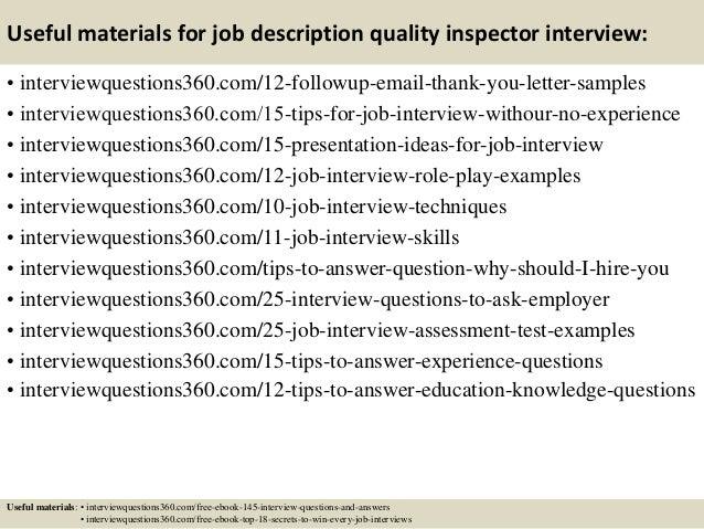 top 10 job description quality inspector interview