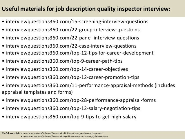 Top 10 job description quality inspector interview questions and answ…