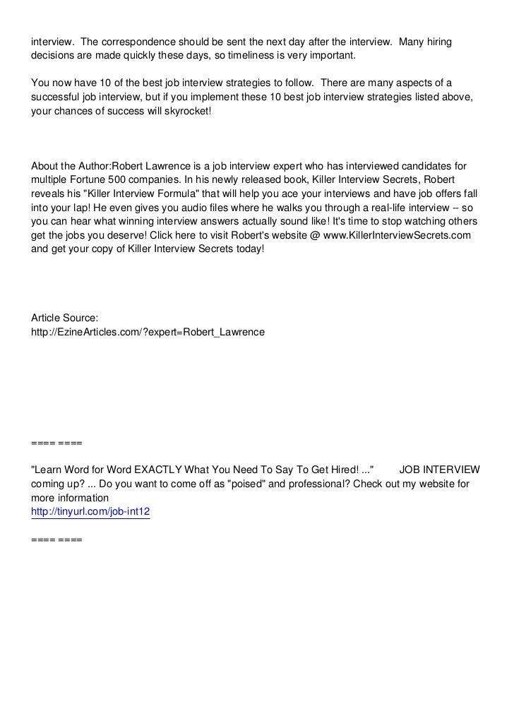 ... After The; 3. Interview.  Follow Up Letter After Resume