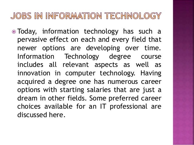 top 10 jobs in information technology industry