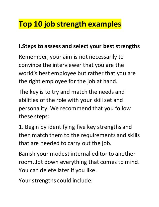 Top 10 Job Strength Examples I.Steps To Assess And Select Your Best  Strengths Remember ...  Examples Of Abilities