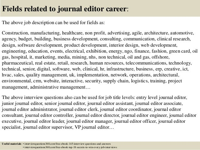 Ociate Editor Job Description | Top 10 Journal Editor Interview Questions And Answers