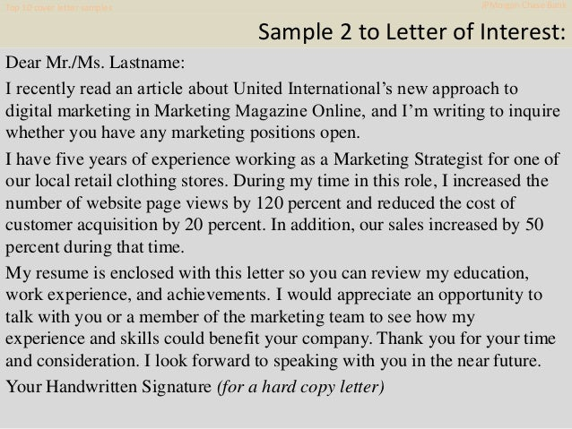 Cover Letter Samples JPMorgan Chase Bank 11