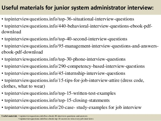 Top 10 junior system administrator interview questions and answers