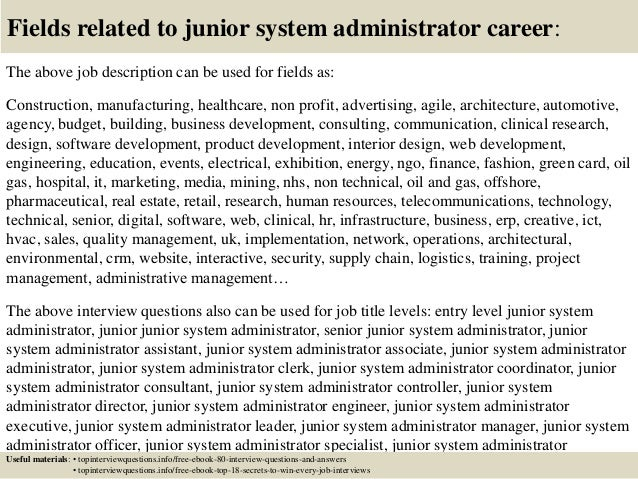 junior system administrator job description
