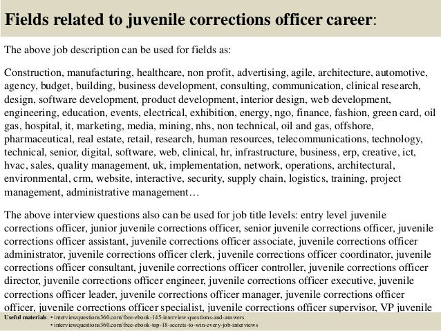... 18. Fields Related To Juvenile Corrections Officer Career: The Above Job  Description ...