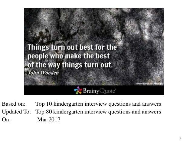 kindergarten teacher interview questions