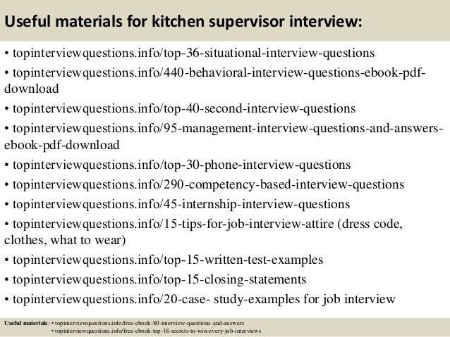 12 useful materials for kitchen supervisor interview - Supervisor Interview Questions