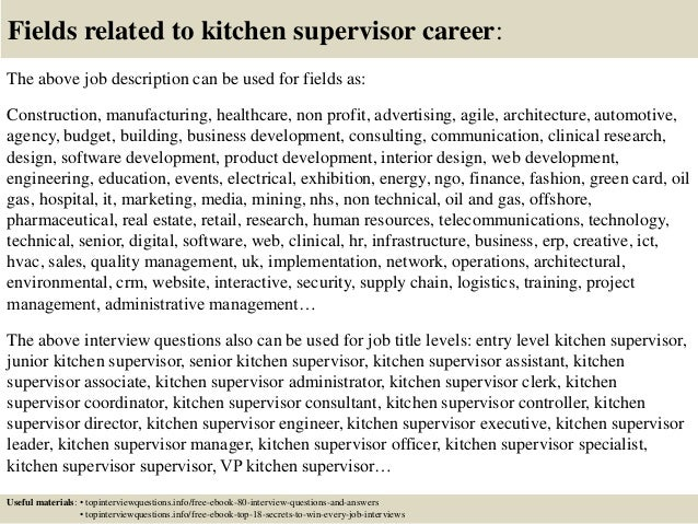 Top 10 Kitchen Supervisor Interview Questions And Answers Rh Slideshare Net Manager Job Description